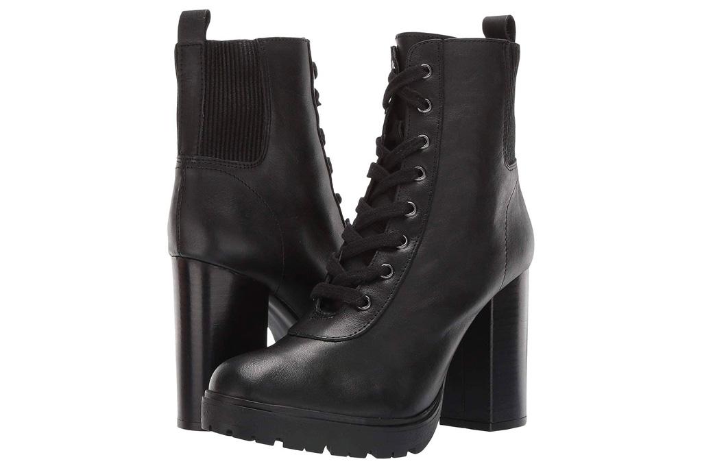 boots, combat boots, lace up, heeled, platform, black, steve madden