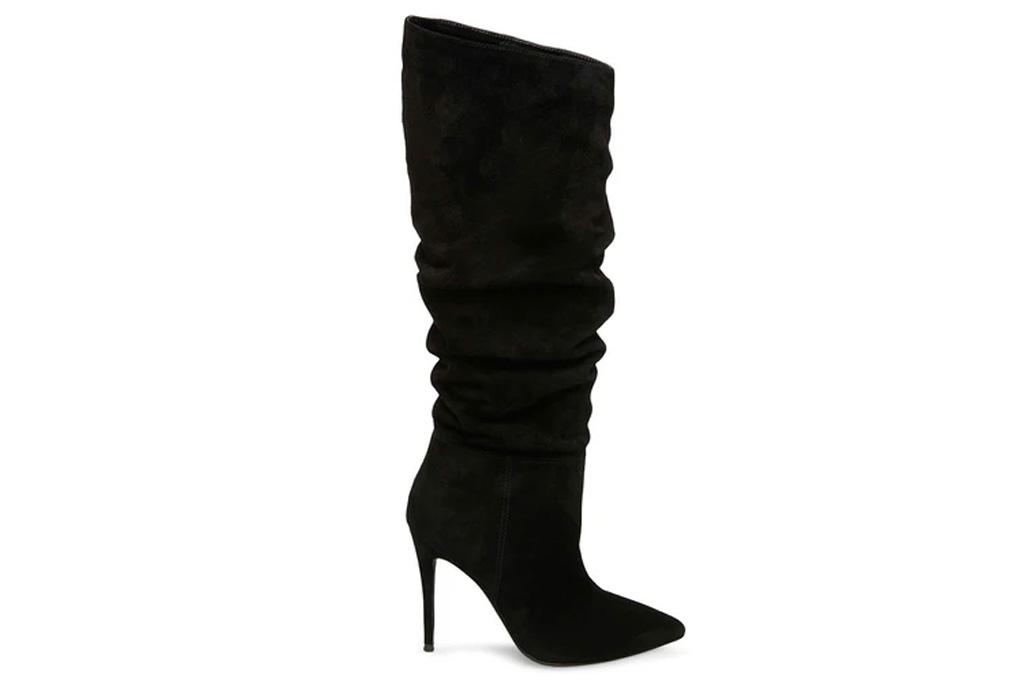 steve madden, black boots, heels, suede
