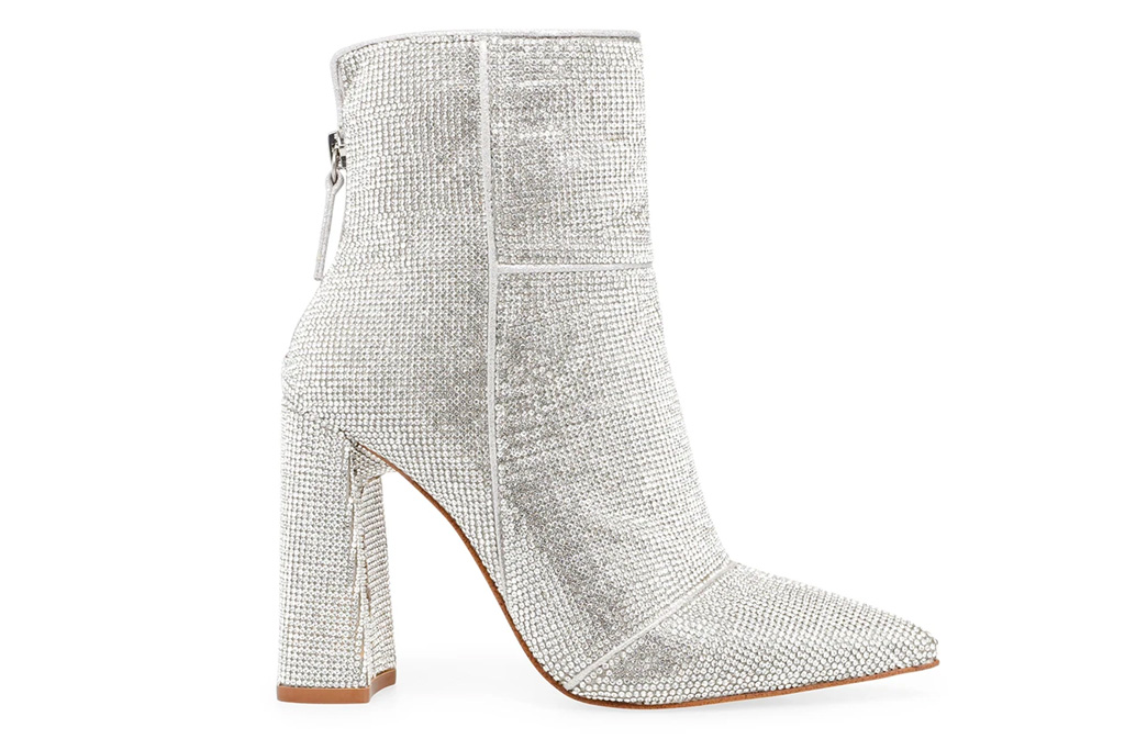 crystal boots, silver, steve madden