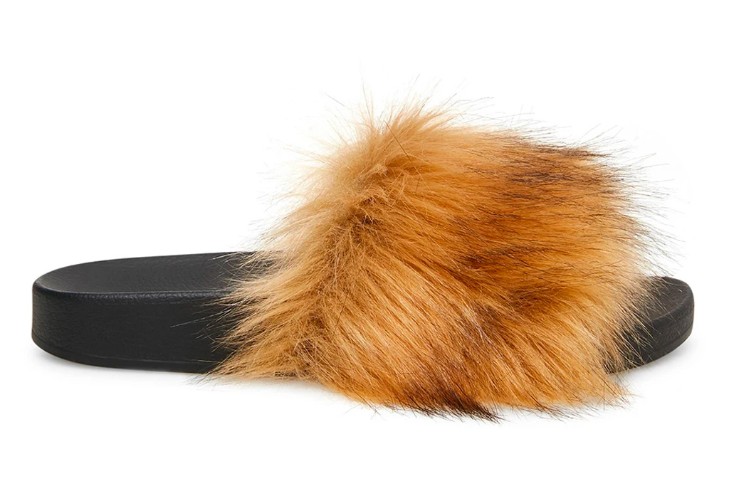 slides, furry, brown, steve madden