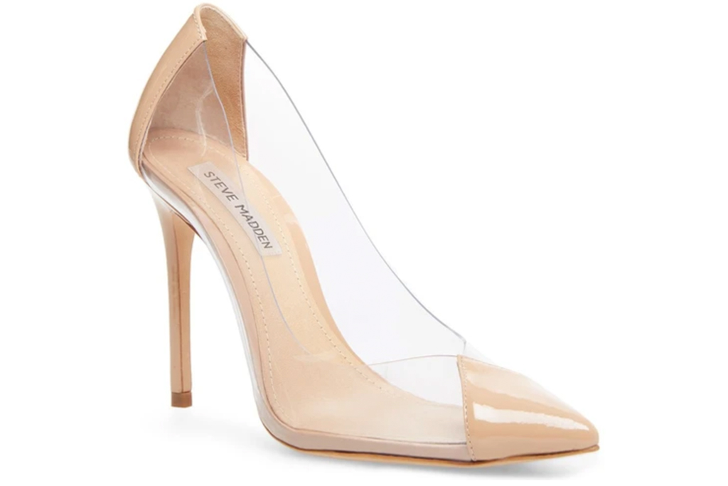 pvc, pumps, nude, pointed toe, see through, steve madden