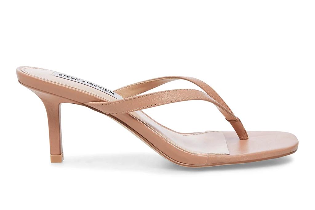 thong sandals, tan, nude, heel, kitten heel, steve madden