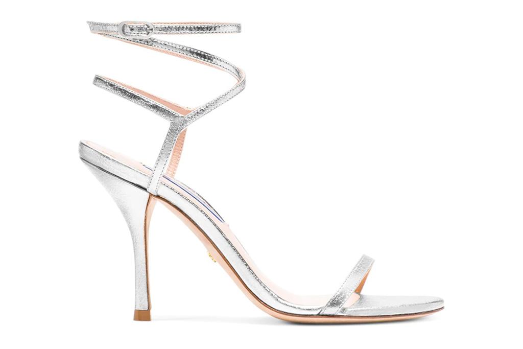 silver sandals, heels, stiletto, stuart weitzman