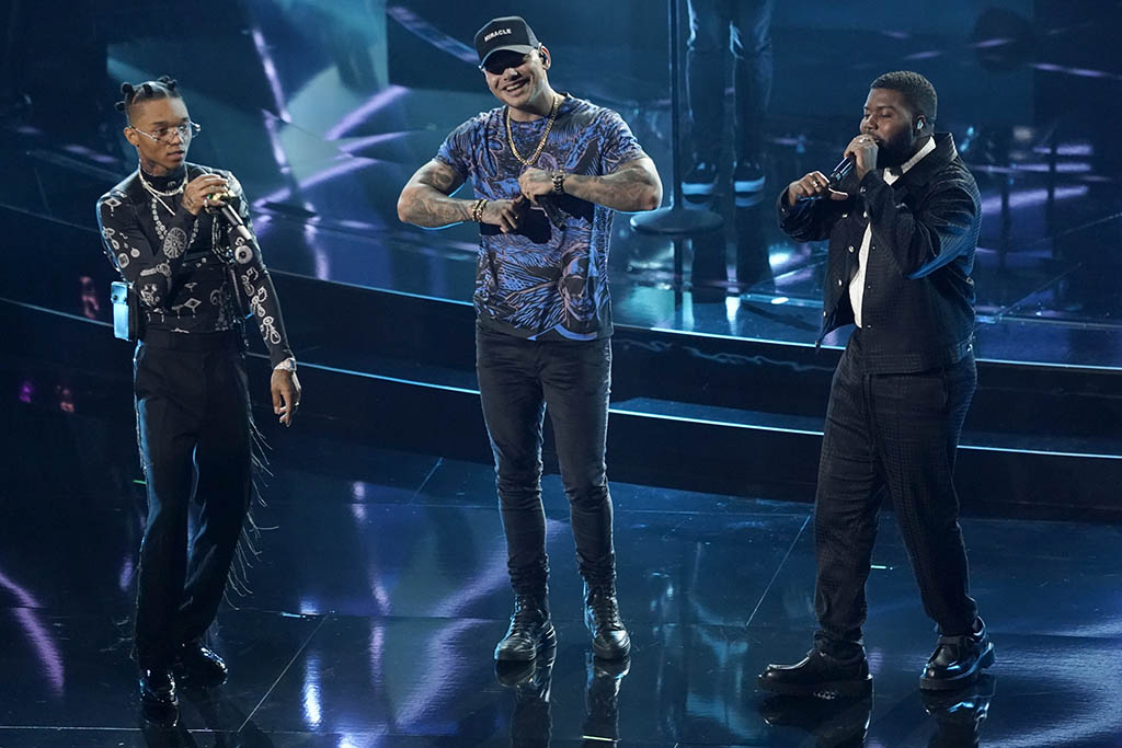 "Swae Lee, from left, Kane Brown and Khalid perform ""Be Like That"" at the Billboard Music Awards on Wednesday, Oct. 14, 2020, at the Dolby Theatre in Los Angeles. (AP Photo/Chris Pizzello)"