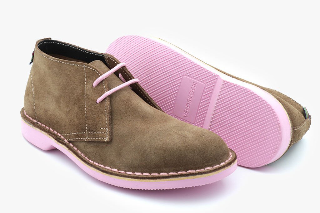 veldskoen, pink sole safari shoe, genuine leather shoe
