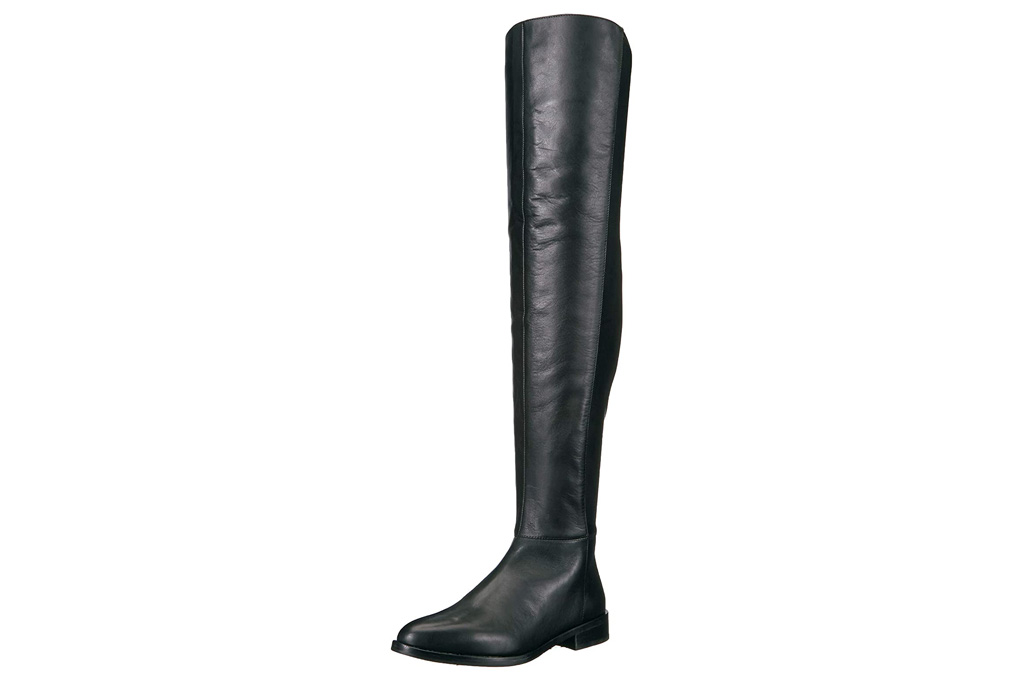 black boots, thigh high, leather, vince camuto