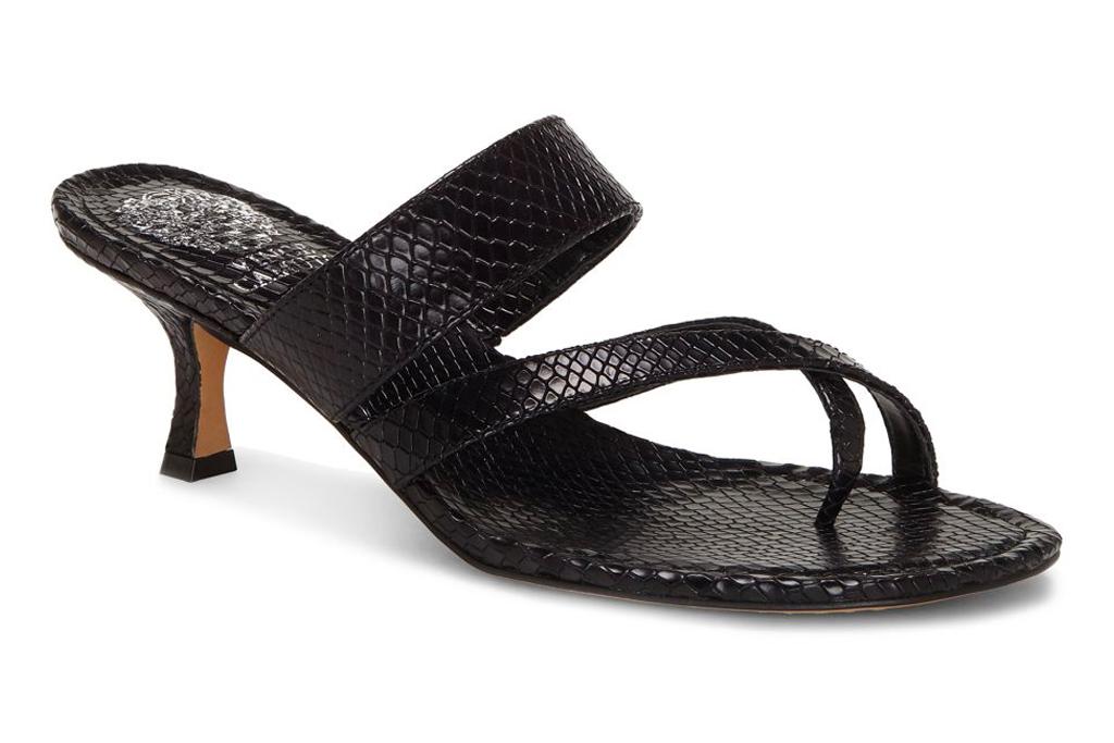 black sandals, big toe, heels, shoes, sandals, loop toe, vince camuto