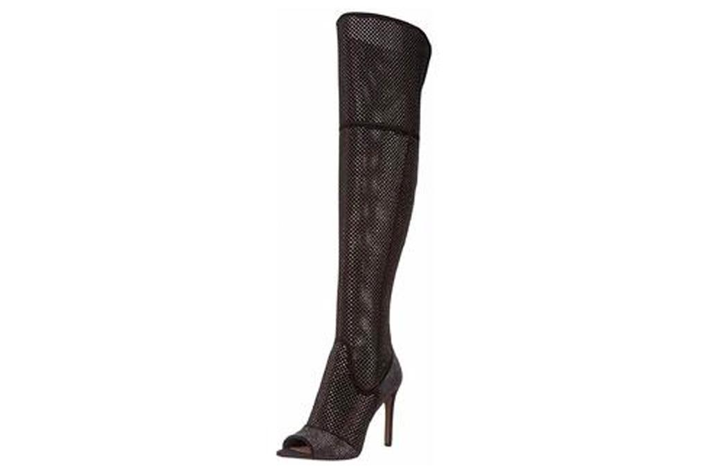 black boots, thigh high, mesh, rhinestone, embellished, vince camuto