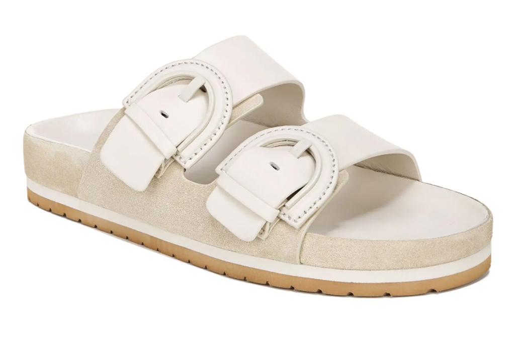 vince sandals, sandals, white, double strap