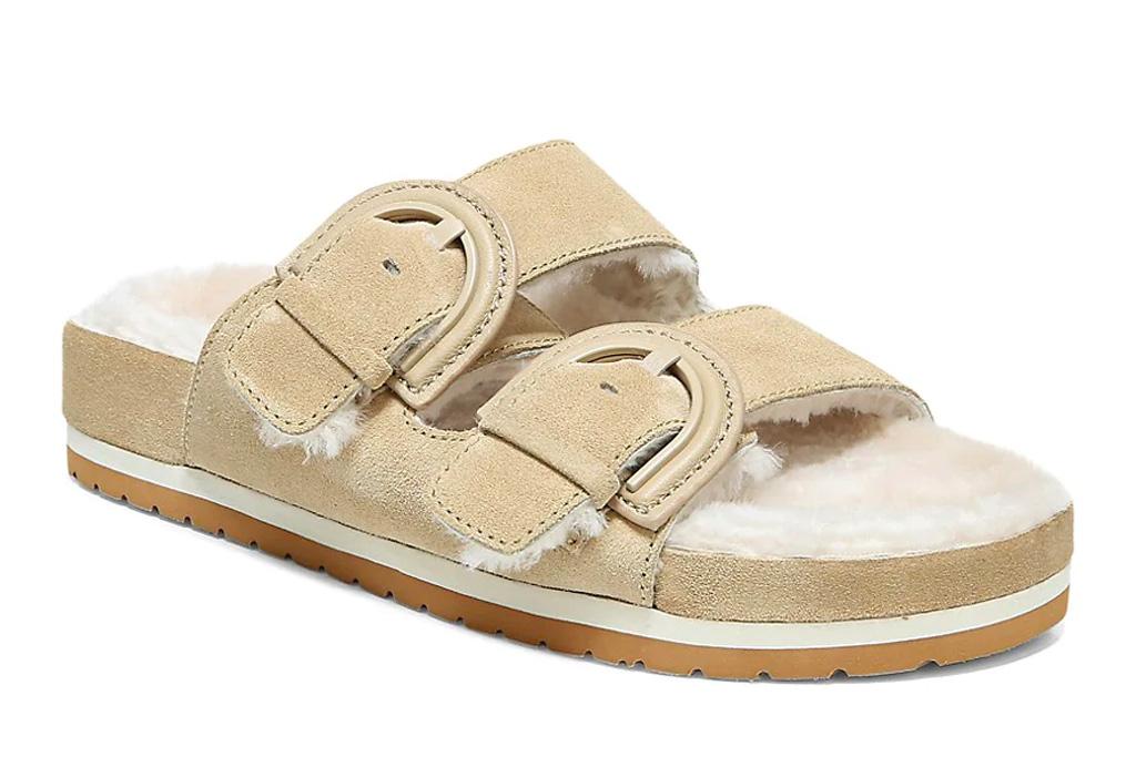slides, sandals, fuzzy, vince