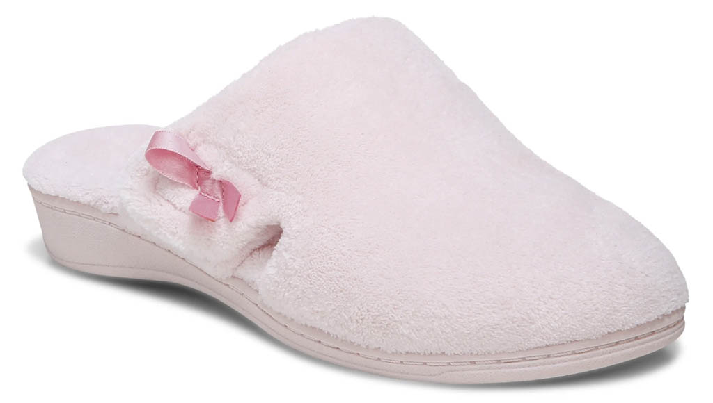 vionic gemma mule slippers, pink shoes, breast cancer awareness month