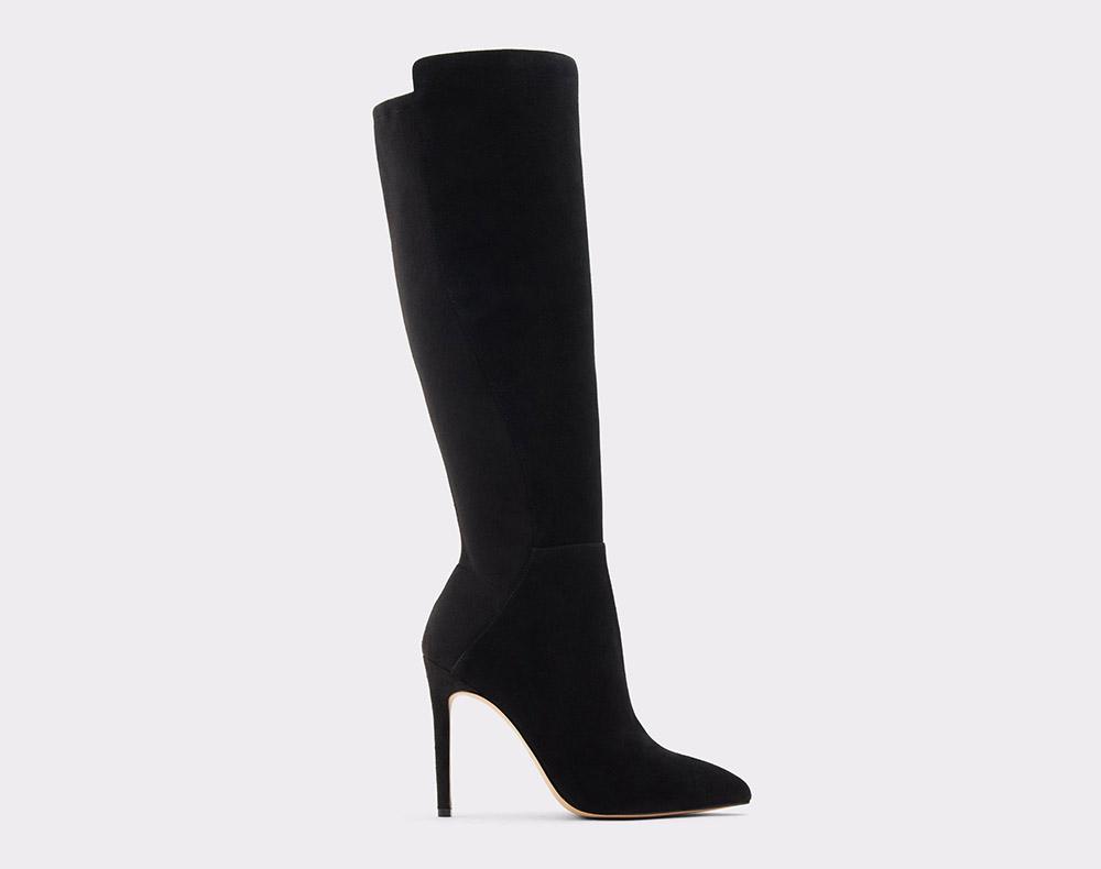 black boots, heeled, suede, knee high, aldo