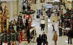 Shoppers walk through the CherryVale Mall