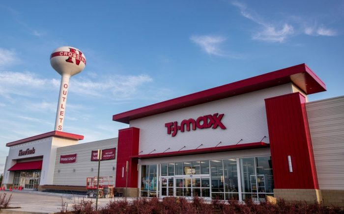 HomeGoods, left, and TJ Maxx are set to open soon at the Nebraska Crossing Outlet mall Thursday, August 22, 2019, in Gretna, Neb. (Chris Machian/The World-Herald via AP)
