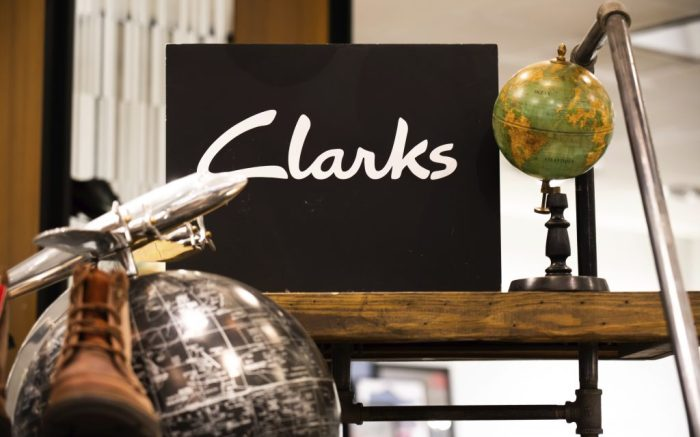 British shoe manufacturer and retailer Clarks stall seen in a Macy's department store in New York City. (Photo by Alex Tai / SOPA Images/Sipa USA)(Sipa via AP Images)