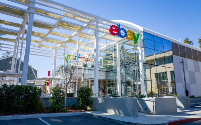 Sign on facade at headquarters of Internet auction company Ebay in the Silicon Valley, San Jose, California, March 15, 2019. (Photo by Smith Collection/Gado/Sipa USA)(Sipa via AP Images)