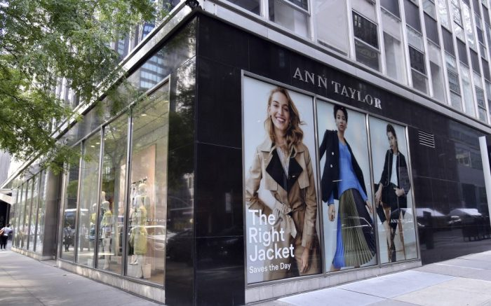 View of Ann Taylor's retail store in Manhattan, who's parent company Ascena Retail Group has declared bankruptcy due to the economic impact of COVID-19 pandemic, New York, NY, July 23, 2020. The retail group that owns Ann Taylor, Loft as well as Lou & Grey, says it will close half of its 2800 stores. (Anthony Behar/Sipa USA)(Sipa via AP Images)