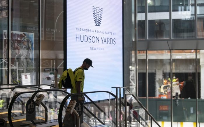 September 18, 2020: A man wearing a PPE mask rides the down escalator at The Shops at Hudson Yards in Manhattan, New York. Mandatory credit: Kostas Lymperopoulos/CSM (Credit Image: © Kostas Lymperopoulos/CSM via ZUMA Wire) (Cal Sport Media via AP Images)