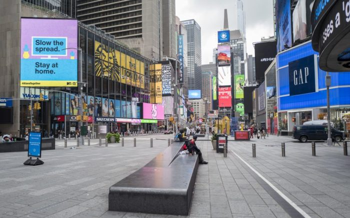 Tourism in Times Square remains slow as New York reported a spike in its rate of new Covid-19 (Coronavirus) cases today including a rise in New York City and in its northern suburbs on Monday, September 28, 2020 in Manhattan, New York. (Alex Menendez via AP)