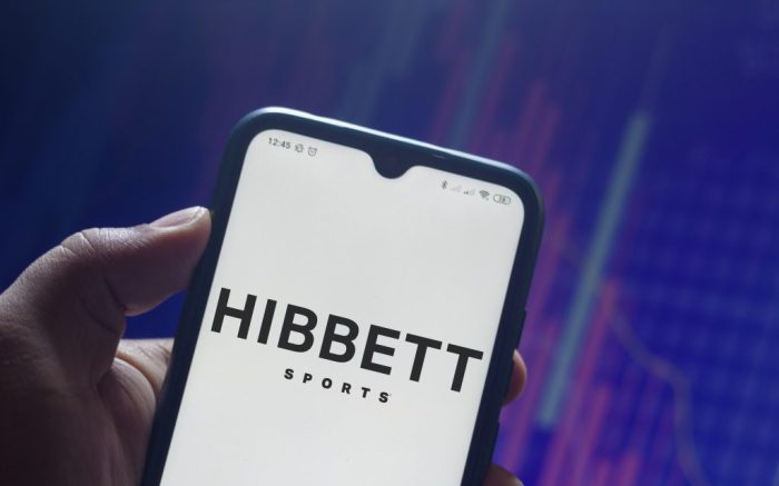 In this photo illustration the Hibbett Sports logo seen displayed on a smartphone. (Photo by Rafael Henrique / SOPA Images/Sipa USA)(Sipa via AP Images)
