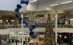 A Christmas tree and holiday decorations