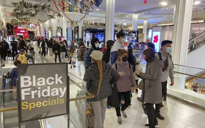Fewer people than usual visit Macy's flagship store in New York as Black Friday sales begin on Nov. 27, 2020, with coronavirus infections still rampant in the United States. (Kyodo via AP Images) ==Kyodo