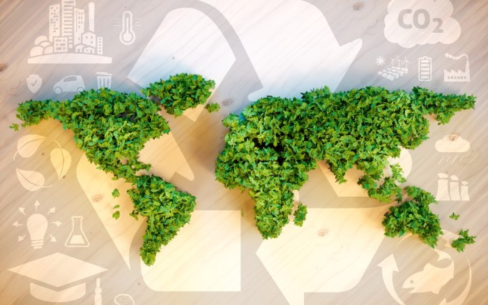 World map greenery sustainability recycling global concept