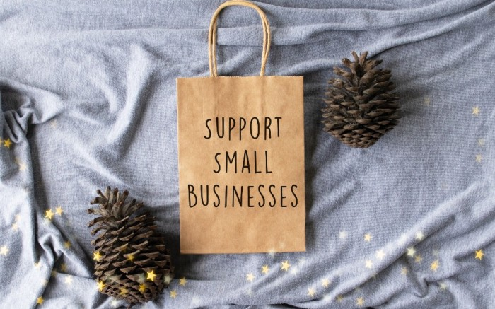 Shopping bag reading Support Small Business surrounded by seasonal decoration for the holidays