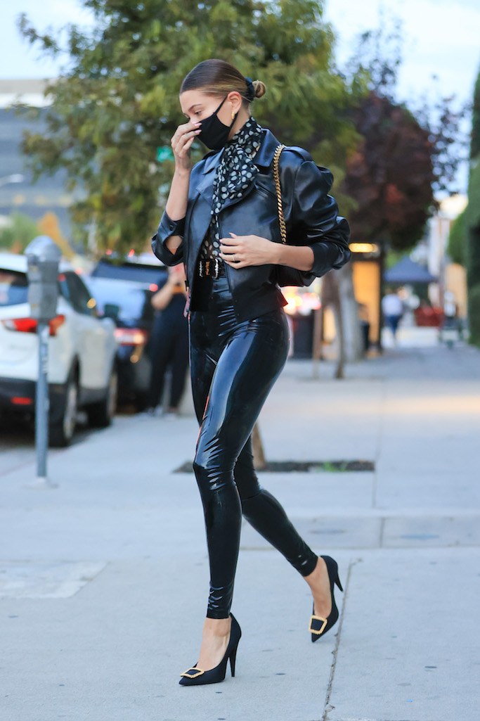 Hailey Bieber dons a black latex YSL outfit As she visits stylist Maeve Reilly's office. MANDATORY BYLINE RACHPOOT/MEGA. 20 Nov 2020 Pictured: Hailey Bieber dons a black latex YSL outfit. Photo credit: Rachpoot/MEGA TheMegaAgency.com +1 888 505 6342 (Mega Agency TagID: MEGA716398_004.jpg) [Photo via Mega Agency]