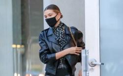 Hailey Bieber dons a black latex