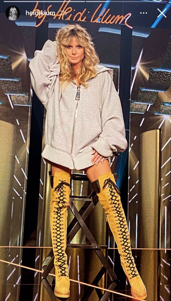 heidi klum, sweatshirt, boots, moschino, work boots, thigh high boots, germany next topmodel