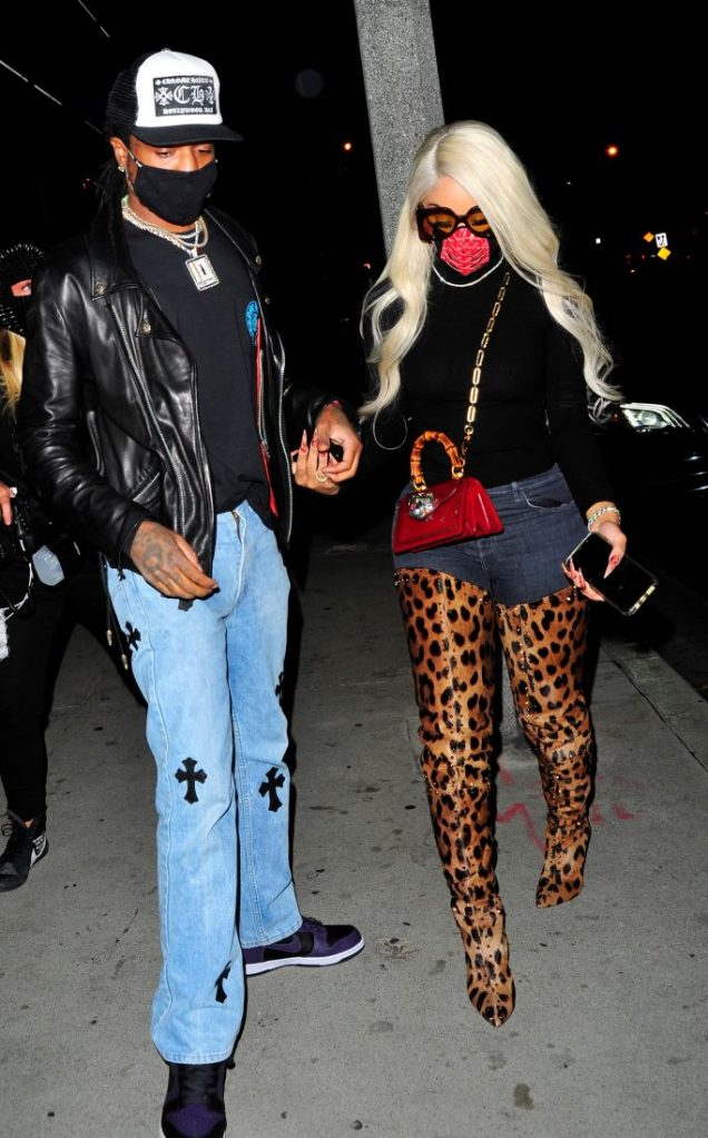Saweetie (Diamanté Quiea Valentin Harper) and Quavo (Quavious Keyate Marshall) at BOA Steakhouse in West Hollywood for dinner on November, 7, 2020. 07 Nov 2020 Pictured: Saweetie (Diamanté Quiea Valentin Harper) and Quavo (Quavious Keyate Marshall) at BOA Steakhouse in West Hollywood for dinner on October, 7, 2020. Photo credit: twoeyephotos/MEGA TheMegaAgency.com +1 888 505 6342 (Mega Agency TagID: MEGA713707_007.jpg) [Photo via Mega Agency]