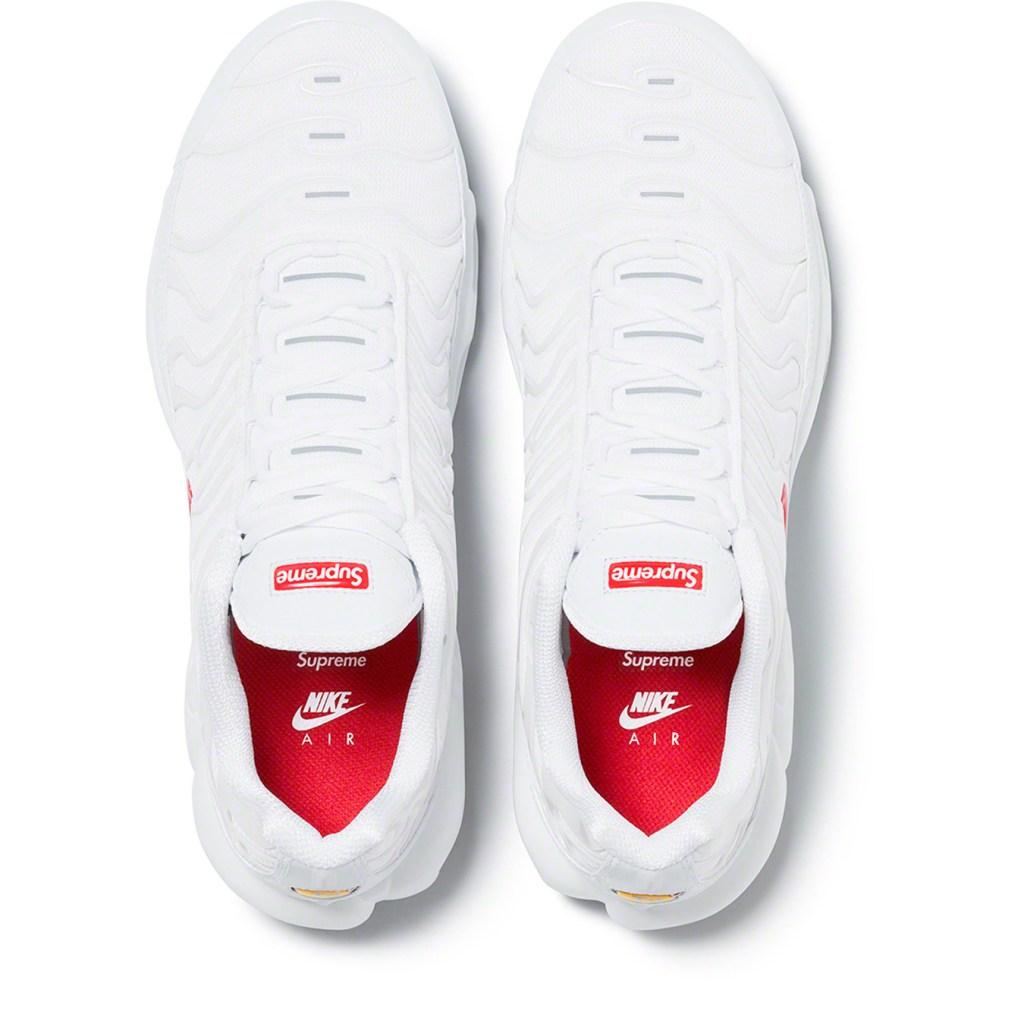 Ardiente transacción actualizar  Supreme x Nike Air Max Plus in White Resale Info: How to Buy It – Footwear  News