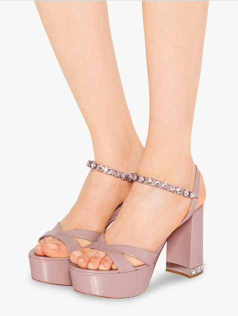 Miu Miu Crystal Embellished Platform Sandals