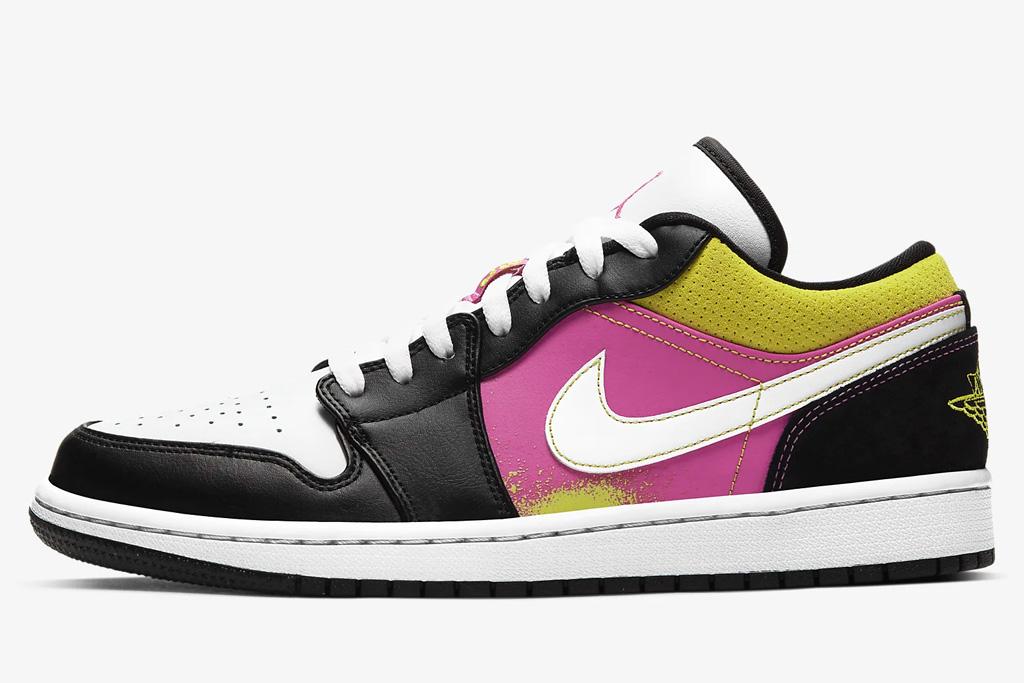 sneakers, yellow, white, low, air jordan