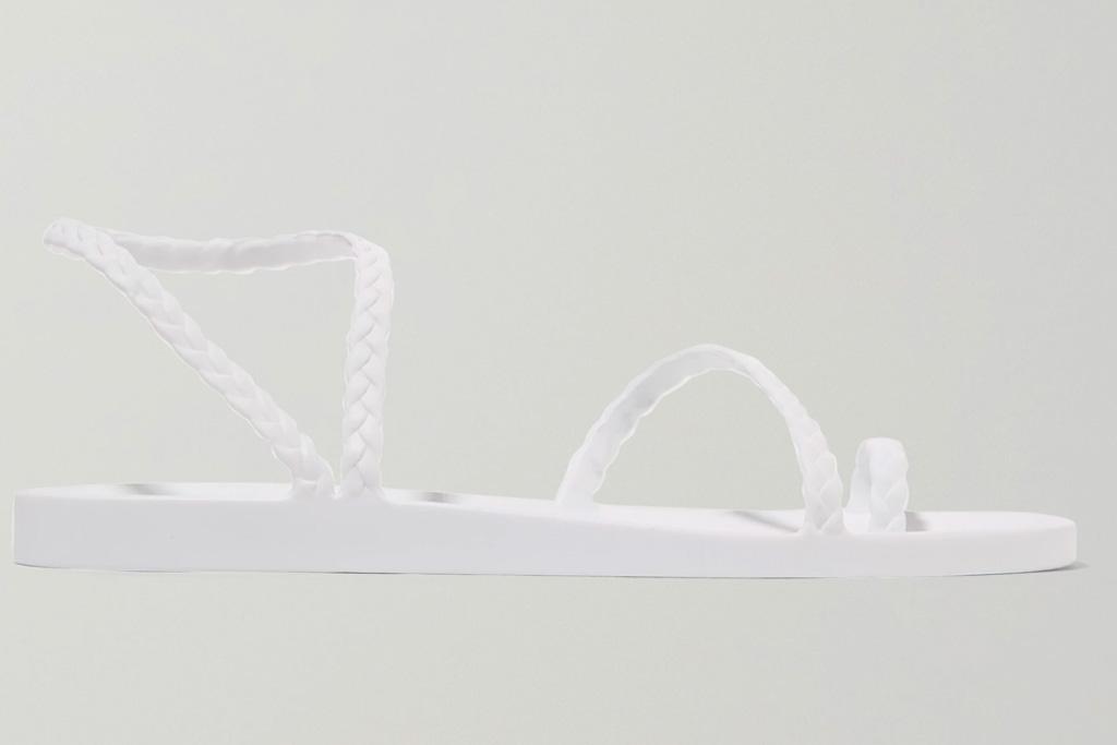 sandals, white, braided, ancient greek sandals