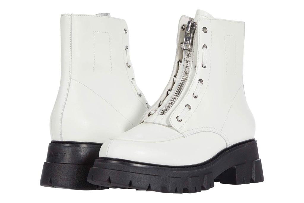 combat boots, white, zipper, ash
