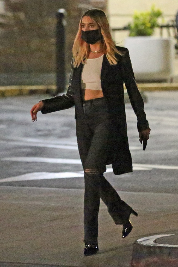 ashley benson, jeans, crop top, shirt, boots, heels, jacket, los angeles