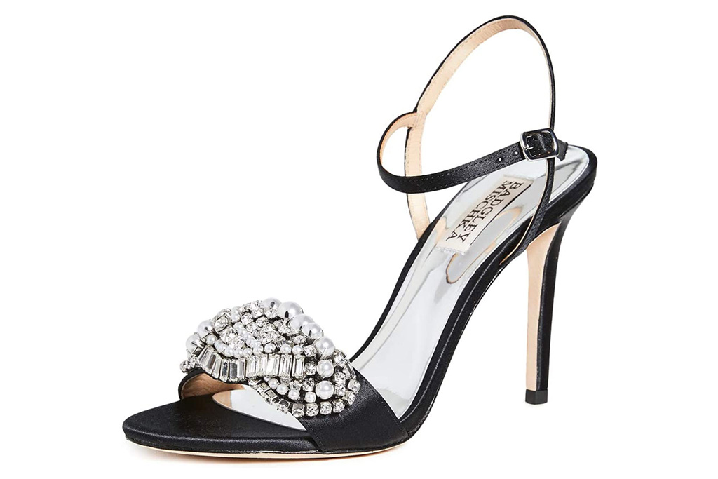 black heels, sandals, embellished, badgley mischka