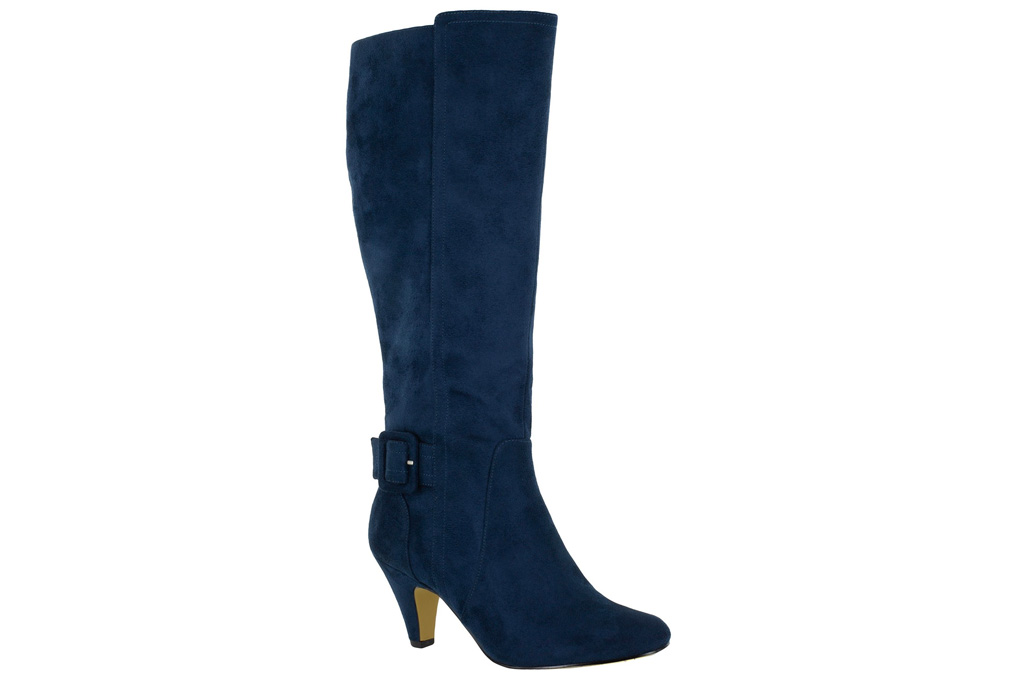 blue boots, suede, tall, bella vita