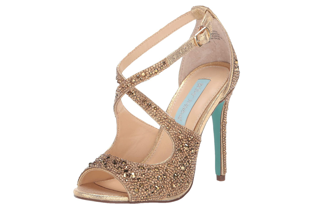gold sandals, heels, glitter, betsey johnson