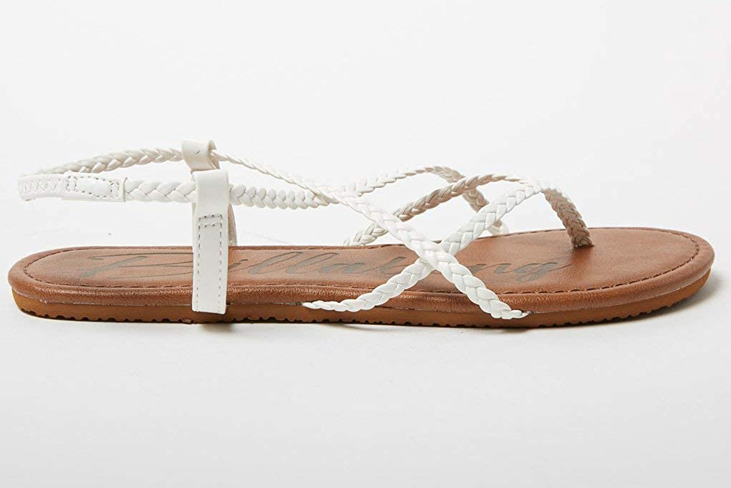 sandals, white, braided, billabong