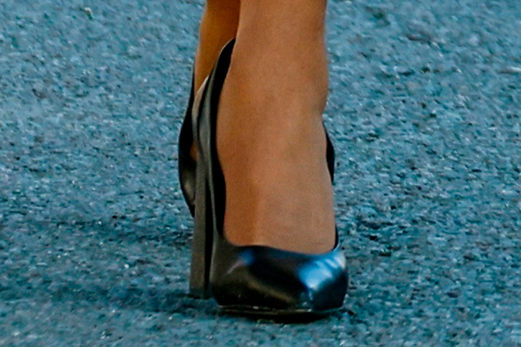 brigitte macron, dress, coat, heels, louis vuitton, french first lady, charles de gaulle, france