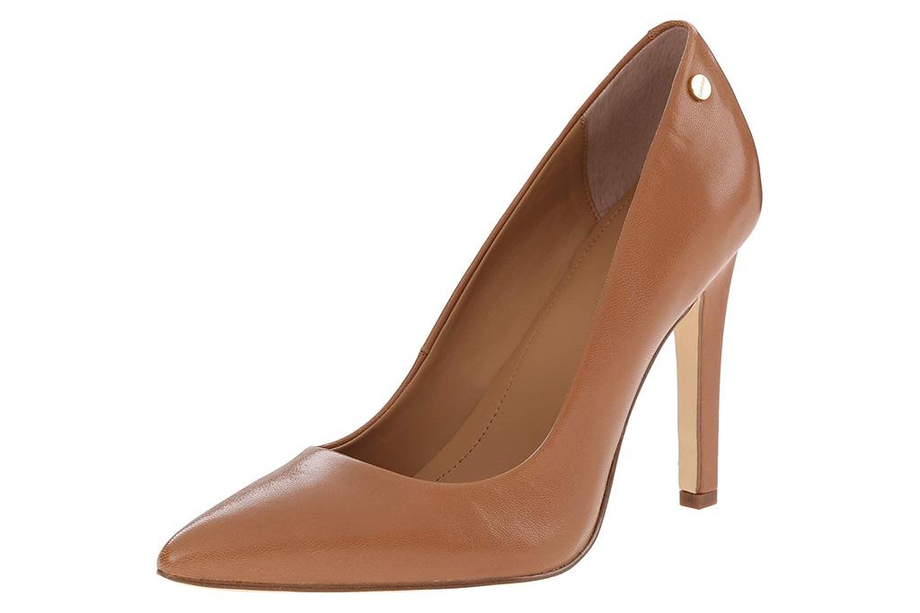 brown pumps, leather, heels, calvin klein