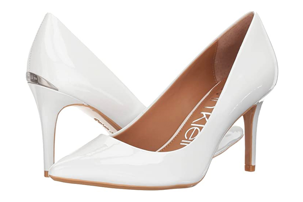 calvin klein, pumps, heels, white