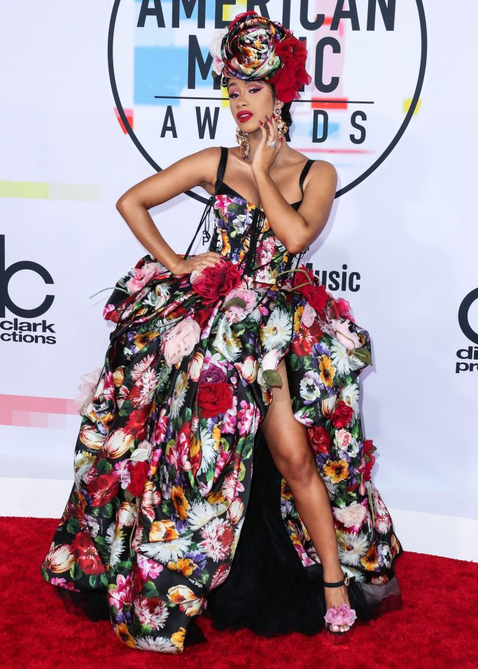 LOS ANGELES, CA, USA - OCTOBER 09: Cardi B (Belcalis Marlenis Almanzar) wearing a Dolce and Gabbana dress (styled by Kollin Carter) arrives at the 2018 American Music Awards held at the Microsoft Theatre L.A. Live on October 9, 2018 in Los Angeles, California, United States. (Photo by Xavier Collin/Image Press Agency/Splash News)Pictured: Cardi B,Belcalis Marlenis AlmanzarRef: SPL5032422 091018 NON-EXCLUSIVEPicture by: Xavier Collin/Image Press Agency/Splash News / SplashNews.comSplash News and PicturesUSA: +1 310-525-5808London: +44 (0)20 8126 1009Berlin: +49 175 3764 166photodesk@splashnews.comWorld Rights