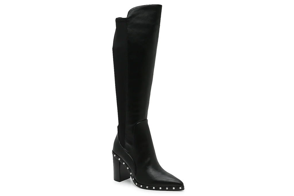 boots, black, studded, charles david