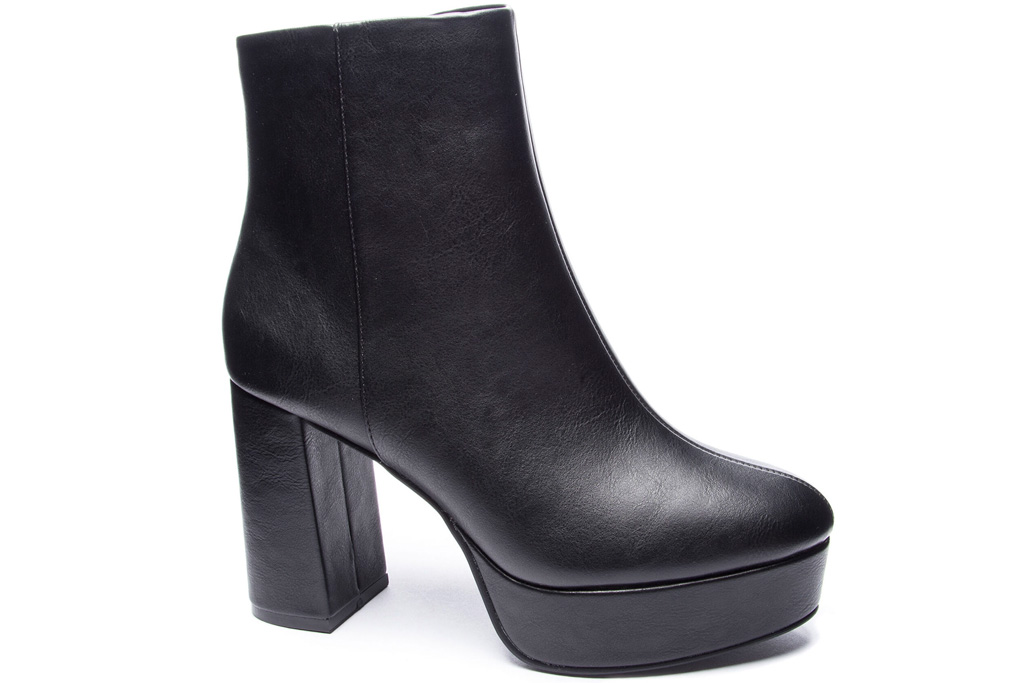 boots, black, heel, leather, platform, chinese laundry