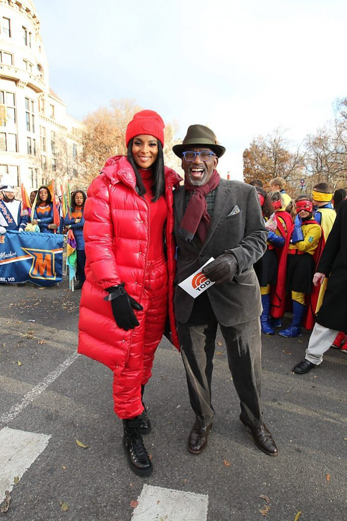 Macy's 93rd Annual Thanksgiving Day Parade started on NYC's Upper West Side & featured celebrities on floats as well as bands & balloons. The big story of the day was whether the high gusts of wind would ground the balloons. The last minute decision was to fly them low. 28 Nov 2019 Pictured: Ciara, Al Roker. Photo credit: Jennifer Mitchell / MEGA TheMegaAgency.com +1 888 505 6342 (Mega Agency TagID: MEGA558020_016.jpg) [Photo via Mega Agency]