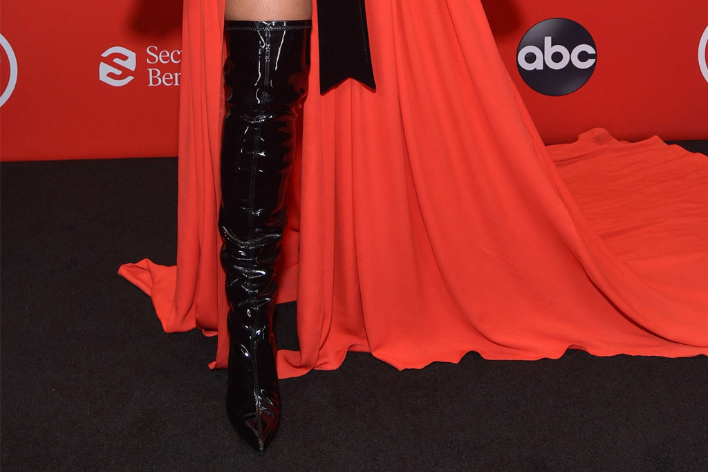 ciara, red dress, dress, balmain, black, boots, ama, american music awards